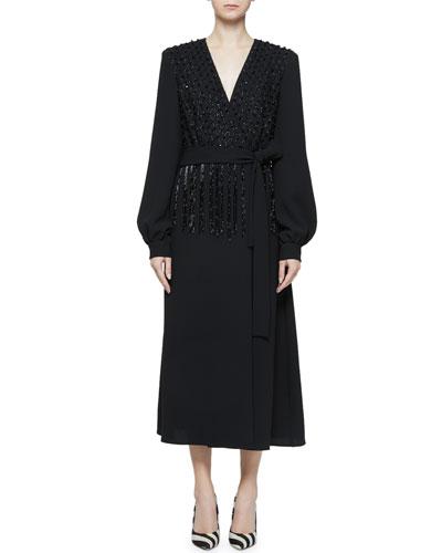 Bead Embellished V-Neck Long-Sleeve Tie-Waist Dress