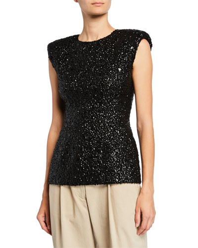 Sequined Structured Cap-Sleeve Top
