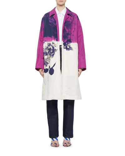 Ramona Abstract Floral-Print Open-Front Coat