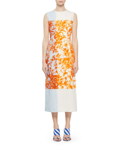 Colorblock Floral Sleeveless Dress