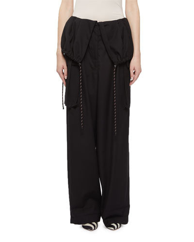 Fold-Over Drawstring Cotton Pants