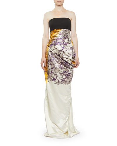 Dinastie Floral Strapless Column Gown with Draped Back