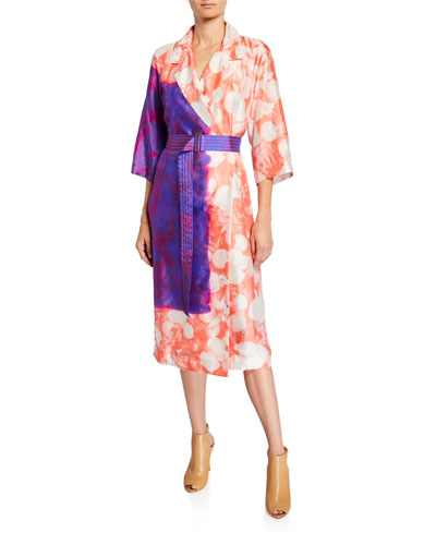 Dyed Floral Tie-Waist Robe Coat
