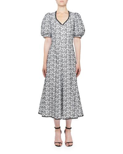 V-Neck Floral-Eyelet Dress