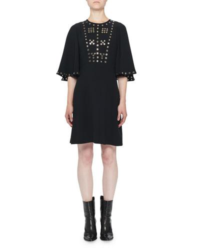 Flare-Sleeve Hardware-Eyelet Dress