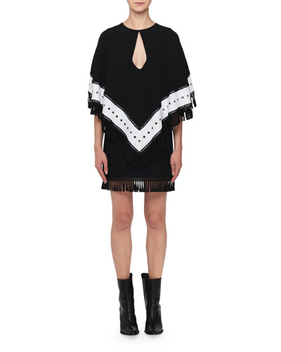 Keyhole Fringed-Cape Mini Dress