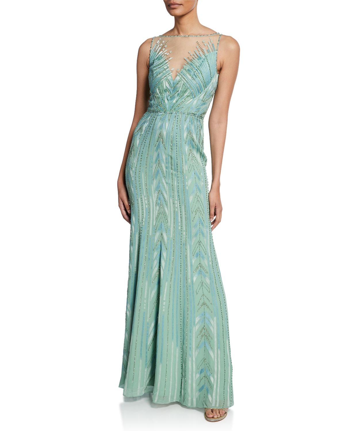Jenny Packham Tops BACALL BEADED GEOMETRIC SLEEVELESS COLUMN GOWN