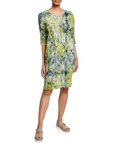 Splash Pleated Short-Sleeve Dress