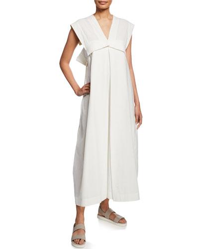 Color Stroke Sleeveless V-Neck Dress