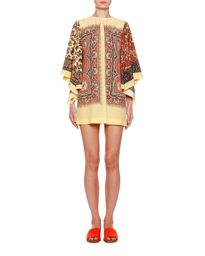 Paisley Scarf-Sleeve Mini Dress