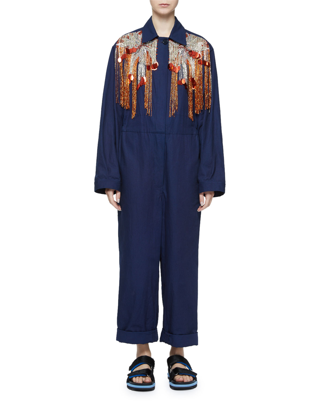 Dries Van Noten Suits SEQUIN FRINGE YOKE LONG-SLEEVE UTILITY JUMPSUIT