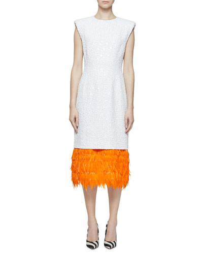 Daily Beaded Feather-Hem Cocktail Dress
