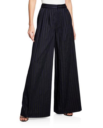 Striped Cotton Wide-Leg Pleated Pants