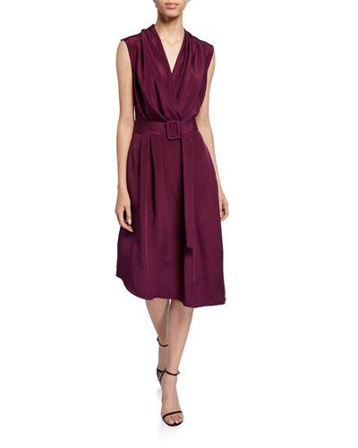 Silk Crepe V-Neck Dress