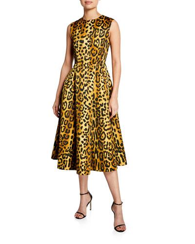 Leopard-Print Duchess Satin Fit-&-Flare Dress