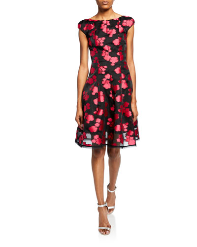 Longley Floral Fil Coupe Cap-Sleeve Dress
