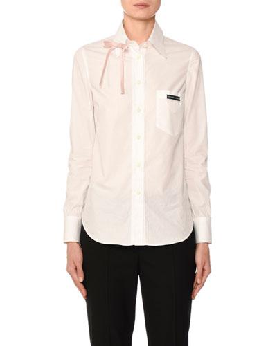Long-Sleeve Poplin Bowed Shirt