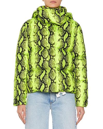 Long-Sleeve Python Cropped Jacket