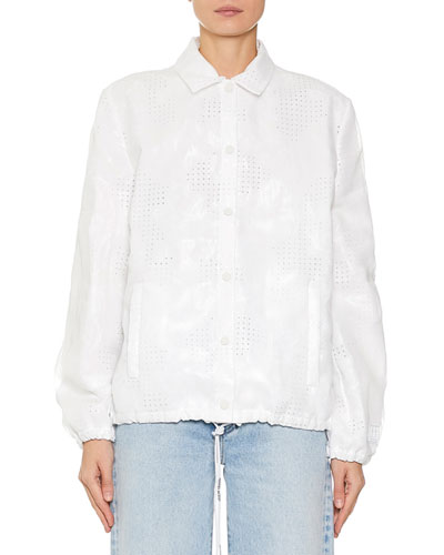 Eyelet Embroidered Button Front Jacket