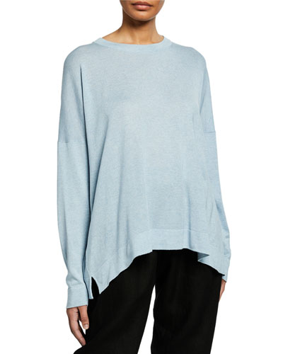 Rounded Crewneck Silk Top
