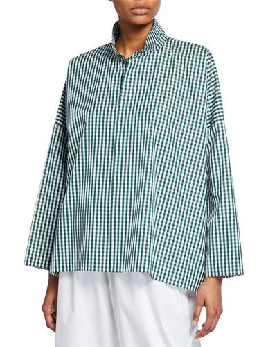 Gingham Cotton Stand Collar Shirt