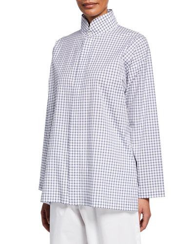 Slim A-Line Navy Window Pane Plaid Shirt