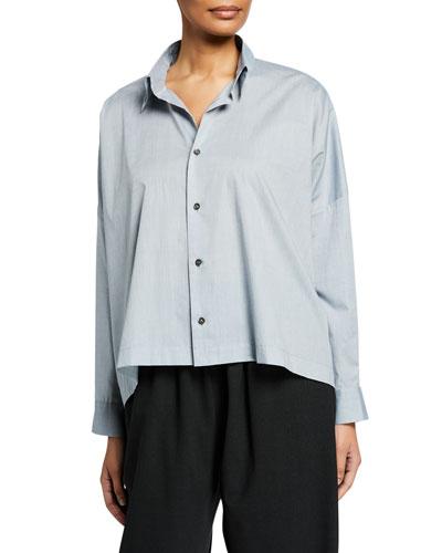 Wide Button-Front Shirt