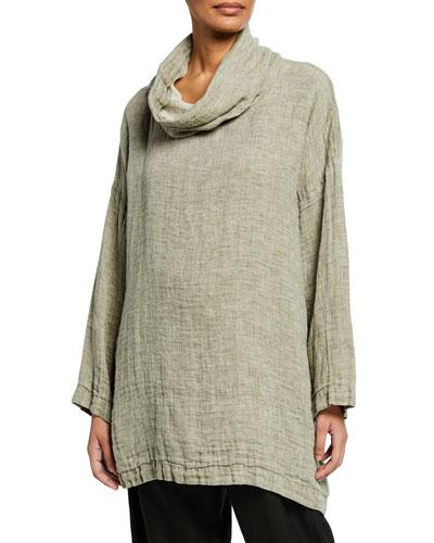 Cowl-Neck Linen Monk Top
