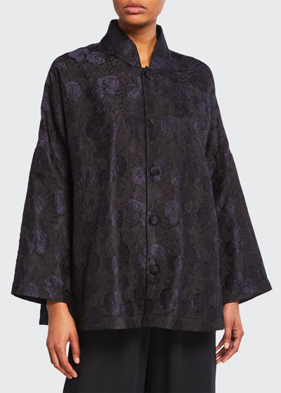 Chinese Imperial Textured Rose Jacquard Jacket