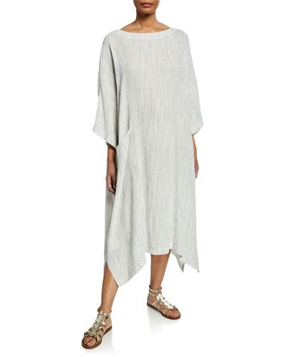Crinkle Stitch Linen Blend T-Shirt Dress