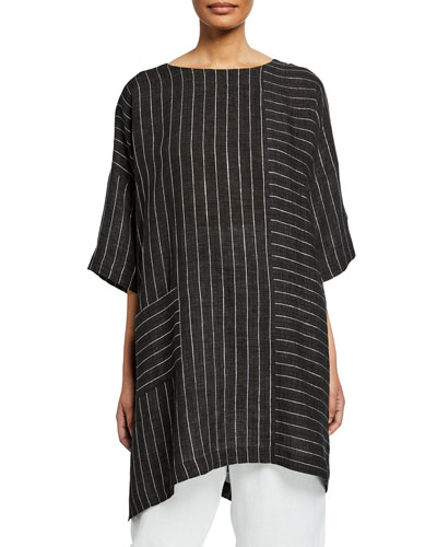 Delave Linen High Low T-Shirt with Silver Stripe