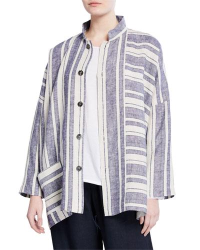 Wide Mandarin Striped Jacket