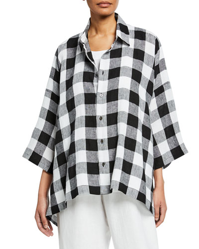 3/4-Sleeve Gingham Linen Button-Front Shirt