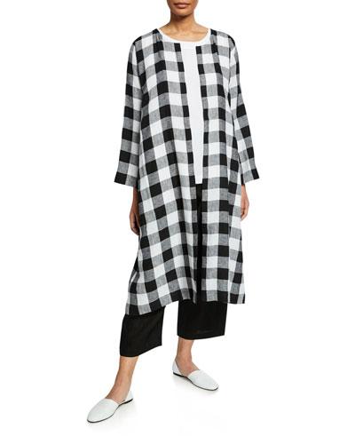 Italian Large Gingham Linen Round Neck Coat