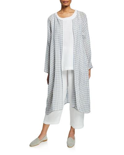 Two-Tone Gingham Linen Gauze Coat