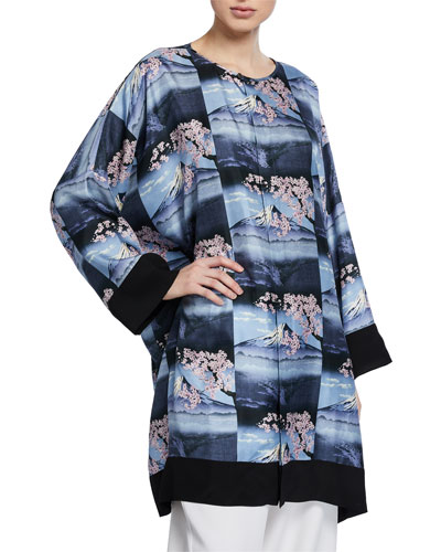 Mount Fuji Repeated-Print Bound Neck Shirt