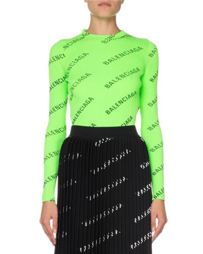 Long-Sleeve Techno Logo-Print Ribbed Sweater