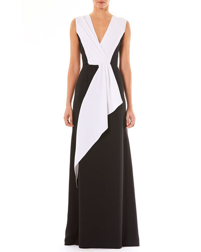 V-Neck Sleeveless Draped Silk Evening Gown