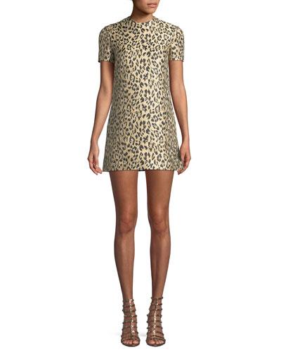 Jewel-Neck Short-Sleeve Metallic Leopard-Brocade A-Line Dress Quick Look.  Valentino e4af2df9d