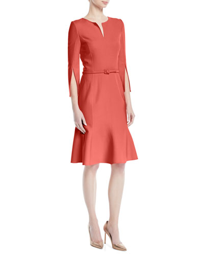 Belted Stretch-Wool Dress with Slit Neckline & Sleeves