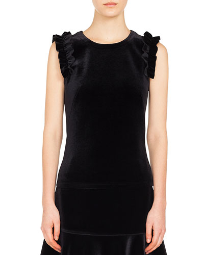 Ruffled-Shoulder Sleeveless Velvet Front Jersey Back Top