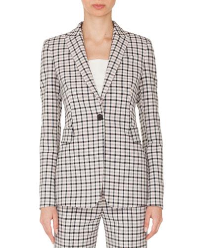 One-Button Long-Sleeve Flap-Pockets Tailored Glen-Check Blazer
