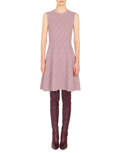 Round-Neck Sleeveless Fit-and-Flare Houndstooth Knit Dress