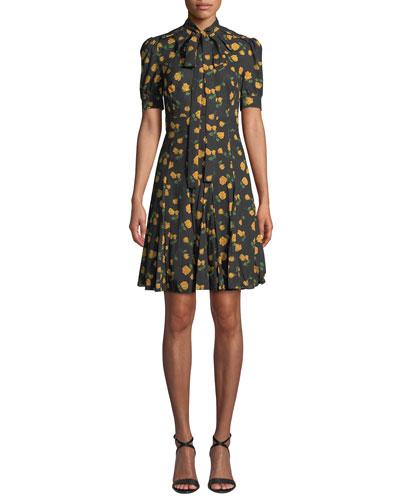 Tie-Neck Short-Sleeve Rose-Print Georgette Day Dress