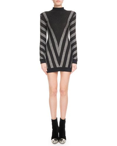 High-Neck Long-Sleeve Metallic Chevron Knit Cocktail Dress