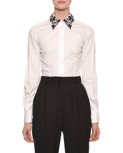 Long-Sleeve Button-Front Cotton Blouse with Embroidered Collar