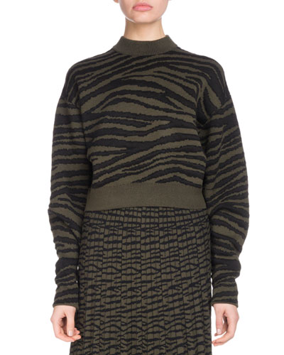 Crewneck Tiger-Jacquard Cropped Pullover Sweater