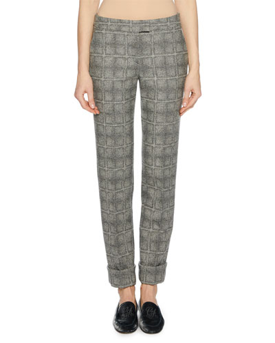 Wool-Blend Check-Patterned Pants