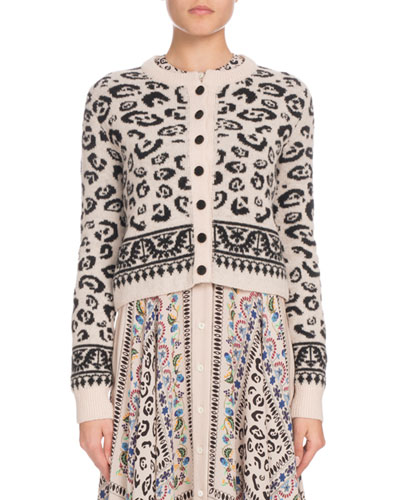 Leopard-Print Button-Front Cropped Wool-Blend Cardigan
