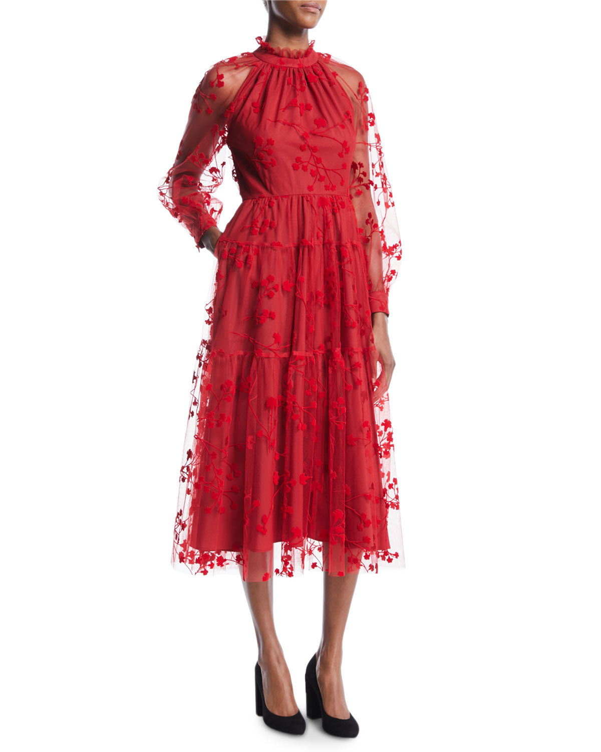Co LONG-SLEEVE FLORAL-EMBROIDERED MOCK-NECK TULLE MIDI COCKTAIL DRESS WITH POCKETS